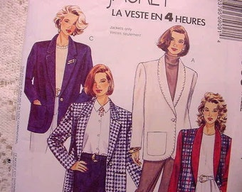 McCalls 5909 Sewing Pattern  4 Hour Jacket 3 Styles Sizes 8,10,12