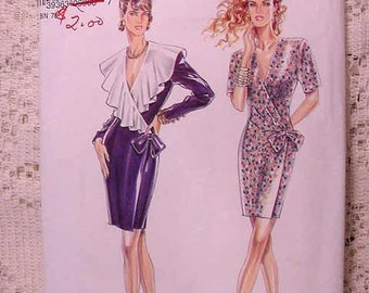 New Look by Simplicity 6960 Pattern Faux Wrap Dress Size 6 to 16