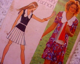Vintage Simplicity 9914 Mini-dress w/ Cardigan Sewing Pattern 1972 Size 14