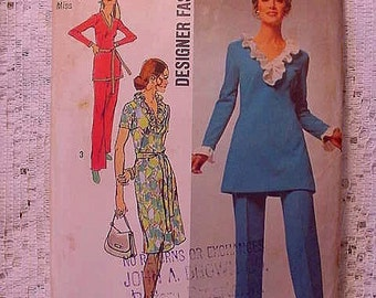 Vintage Simplicity 9518 Pattern 1971 Ruffle Dress or Tunic Size 14 Plus Half size Sewing