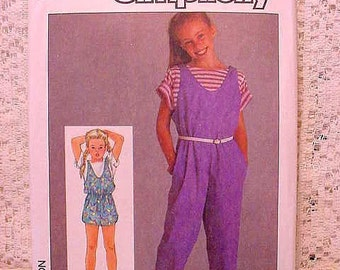 Vintage Simplicity 6862 Pattern 1985 Girls Pull-on Jumpsuit Size 10, 12, 14 UNCUT