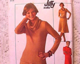 Vintage Simplicity 7750 Pattern 1976 Knit Pullover Dress or Top Cowl Collar and Skirt  Size 16 Sewing