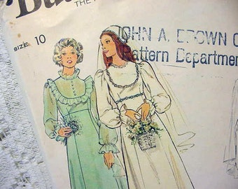 Vintage Butterick 4887 Bridal / Bridesmaid Gown Pattern 1970s Size 10