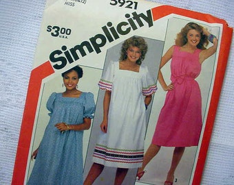 Vintage Simplicity Pattern 5921 Pullover Dress 1983 Size 8-10-12