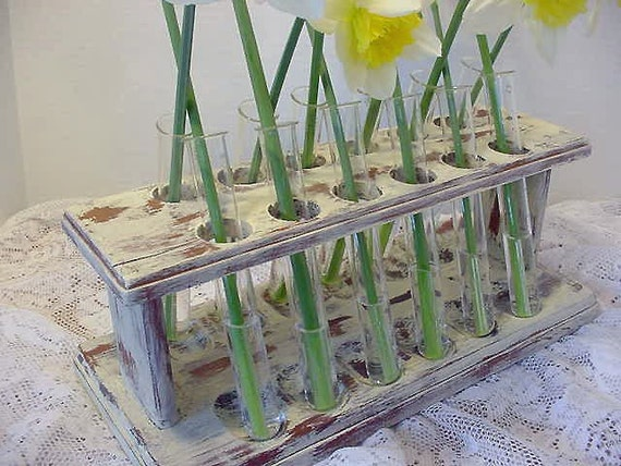 Repurposed Country Chic Test Tube Pipe Stand Flower Holder Centerpiece  (1k1345)