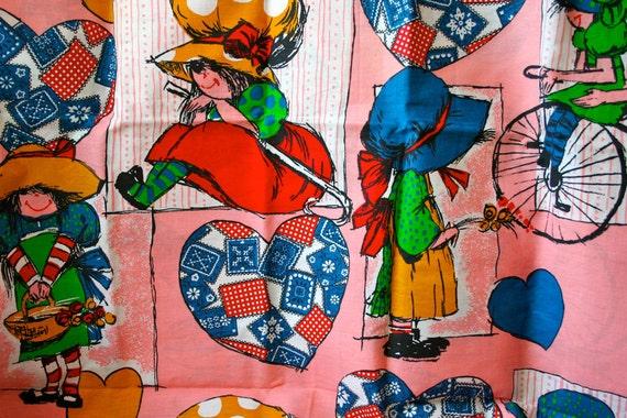 Vintage 1960s Holly Hobbie Fabric Juvenile Large Print Graphic Hollie Hobby