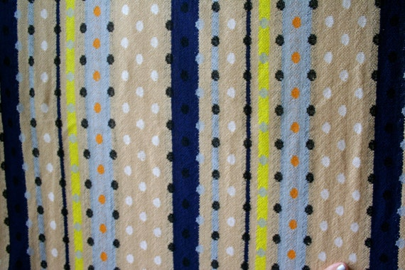 Vintage 1950s 1960s Fabric Dots and Stripes Knitted