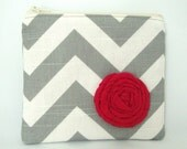 Chevron Zipper Pouch- Gray and White  Zig Zag Rosebud Zip Pouch