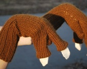 New and Very Unique Knit Brown T-Rex Gloves or Mittens with Cream White Claws for Children (Boys or Girls)  or even Adults, if you Dare