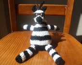Ready to Ship Black and White Striped Zebra Plush Doll with Brown Eyes and a Mohawk Mane