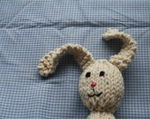 Ready to Ship Hand Knit Cotton Stuffed Bunny Rabbit Rattle in Ecru