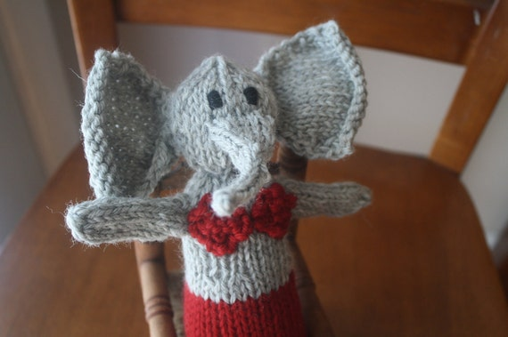 Ready to Ship New Hand Knit Gray and Ruby Red Soft Stuffed Elephant Mermaid Doll with Sapphire Blue Eyes for Children