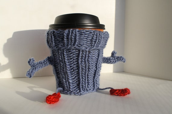 Ready to Ship Hand Knit Blue and Ruby Red Super Hero Frienzy Cup Cozy