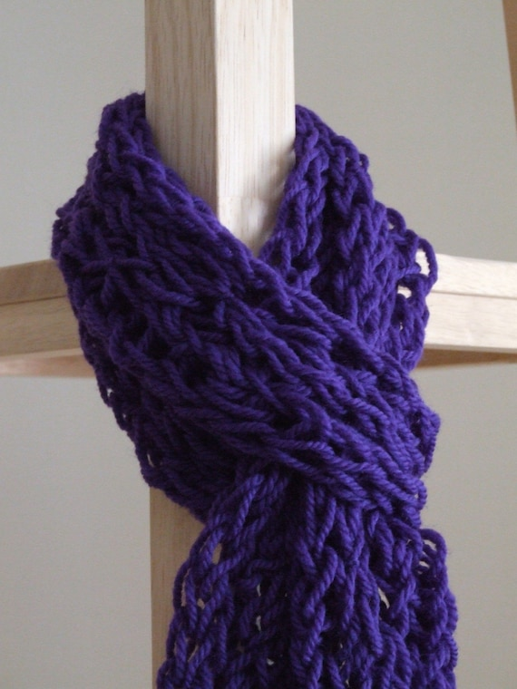 Finger Knitting Scarf : Skinny thick purple finger knit scarf by coebonne on etsy