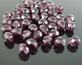 8mm faceted round, amethyst purple, Czech fire-polished glass beads, 7 inch strand