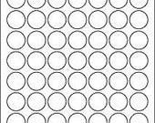 1 inch standard white Circle Labels, 10 sheets (630 labels)