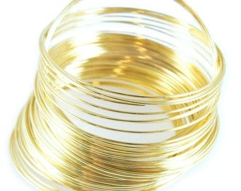 1.75 inch gold plated stainless steel bracelet memory wire, 12 loops