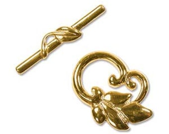 25 x 19mm gold plated metal vine and leaf toggle clasps, 2 clasps