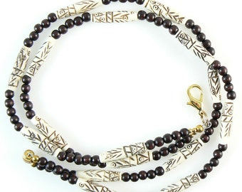 OVERSTOCK SALE! Bone and brown wood beaded break away lanyard, necklace, and more- gold or silver. 17 1/4 long.