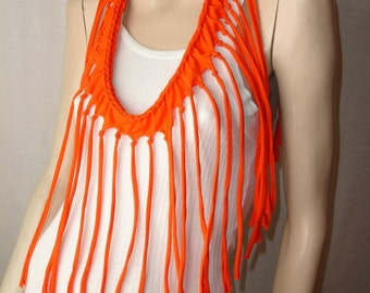 shredded braided fringed upcycled recycled tshirt necklace , jersey necklace