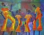 "HOT SUMMER SALE  - ""Celebrations"" - ooak-  15""x19"" (40cmx50cm) -  Jubilation - colour - layered stencils- on 140lb acrylic paper"