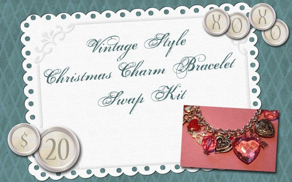 Pink and Aqua Vintage Charm Bracelet Swap Kit