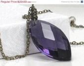 CHRISTMAS SALE Big Purple Pendant Marquis Crystal Pendant Antiqued Brass Necklace - Purple Sky