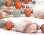 Orange Gray Necklace, Tangerine Coral Aventurine Necklace Fashion Jewelry Under 25 - Spiced Pumpkin