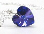 Heart Pendant, Cobalt Heliotrope Swarovski Crystal Sterling Silver Mother's Day Gift Love Under 30 - Blue Love