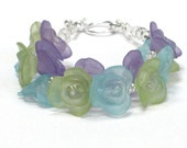 Flower Bracelet, Purple Blue Green Flowers Mother's Day Gift Bracelet Under 20 Spring Bouquet - Full Bloom