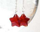Long Red Earrings,Star Earrings  Memorial Day Fourth of July  Birthday American Sterling Silver Dangle Earrings - Burst