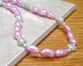 Bright  Pink Pearls, Mint Green Freshwater Pearl Necklace Pastel Fashion Under 25 - Spring Watermelon - CCARIA