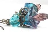 Flower Earrings, Pink, Blue, Bell Flower, Purple,Antiqued Brass Dangle Earrings , Gift Under 20