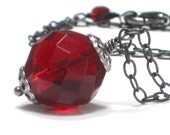 SALE Red Necklace, Big Bold Red Crystal Pendant Holiday Inspired Gunmetal Chain - Cherry