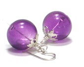 Purple Earrings, Grape Hand Blown Glass Sterling Silver Dangle Earrings Bright Summer Fashion Under 25- Jelly