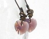 Lavender Earrings, Lilac Swarovski Heart Crystals February Birthday Antiqued Brass Dangle Soft Fall Fashion - Grape Freeze