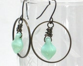 SALE Mint Green Earrings,  Large Hoops Big Bold Spring Fashion Under 15 Antiqued Brass - Fresh Mint Fall