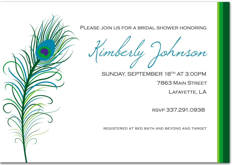 Peacock Wedding Invitations Template: Custom DIY Printable Peacock Bridal Shower Invitation By