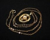 Vintage Oval Gold Tone Diamond Rhinestone and White Faux Pearl Delicate Chain Pendant Necklace