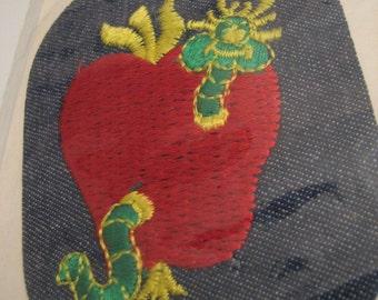 Vintage 60's Green Apple Worm Blue Jean Denim Fashion Repair Patch