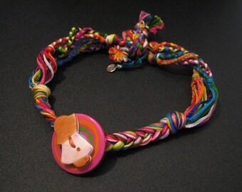 Handmade Recycled Bohemian Rainbow Holly Hobby Button Embroidery Thread Choker Necklace