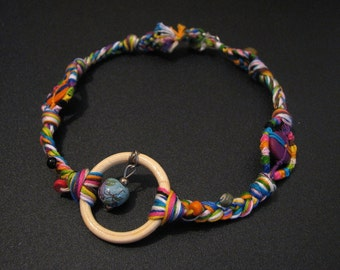 Handmade Beaded Rainbow Embroidery Thread Choker Necklace