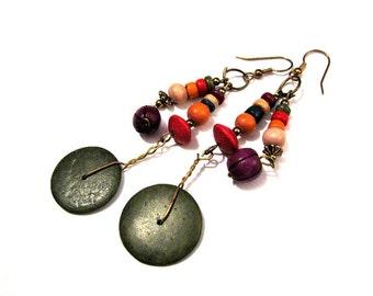 Vintage Brass and Rainbow Beaded Disc Dangle Pierced Earrings