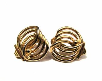 Vintage Gold Tone Swirled Twisted Screwback Earrings