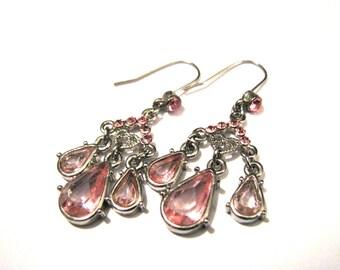Vintage Silver Tone and Pink Diamond Rhinestone Faceted Acrylic Teardrop Bezel Set Open Back Dangle Pierced Earrings