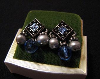 Vintage Silver Tone Blue Topaz Diamond Rhinestone and Faux Pearl Dangle Pierced Earrings
