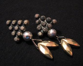 Vintage Mixed Metals Silver Copper Brass Grape Cluster Dangle Pierced Earrings