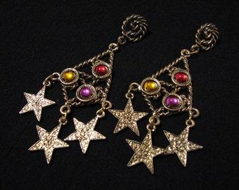HUGE Vintage Antiqued Gold Tone Twisted Rope Chandelier Rainbow Beaded Star Dangle Pierced Earrings