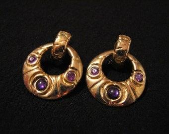 Vintage Gold Tone and Faux Purple Amethyst Stone Hoop Pierced Earrings