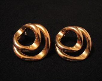 HUGE Vintage Gold Tone Wavy Double Rings Pierced Earrings